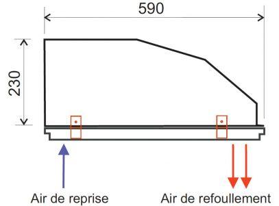 La forme spécifique de l'appareil facilite l'intégration en faux plafond. La reprise et le refoulement d'air se font en façade. Quatre pieds sur deux côtés de l'appareil permettent de le poser sur la partie verticale de la structure métallique d'un plafond suspendu ou du cadre réf. CA1 en option.